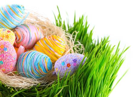 huevo: Coloridos huevos de Pascua en el nido en la hierba verde de la primavera aislados sobre fondo blanco Foto de archivo