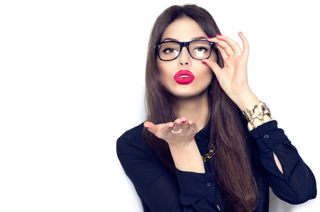 Beauty fashion sexy girl wearing glasses showing empty copyspace Stock Photo