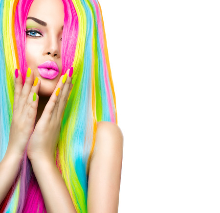 bright colors: Beauty girl portrait with colorful makeup, hair and nail polish Stock Photo