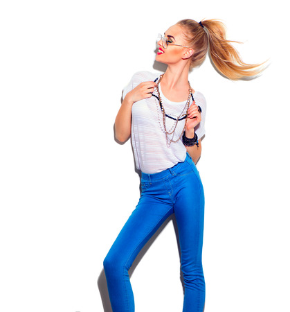 Fashion model girl isolated over white background