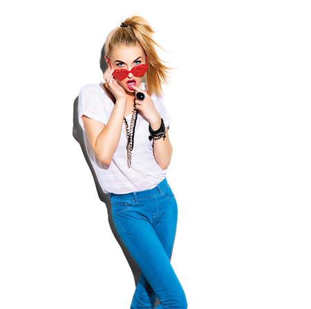 Fashion model girl portrait isolated over white background photo