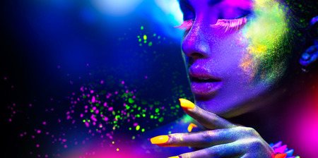 fluorescent: Fashion woman in neon light, portrait of beauty model with fluorescent makeup