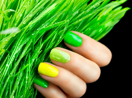 nail varnish: Spring manicure. Trendy green nails. Beautiful nailpolish with green grass