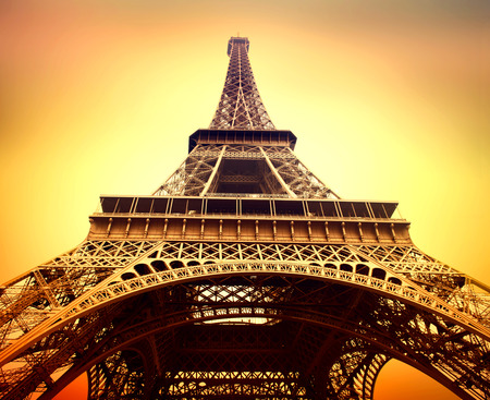 europe: Eiffel Tower at sunrise close up, Paris, France Stock Photo