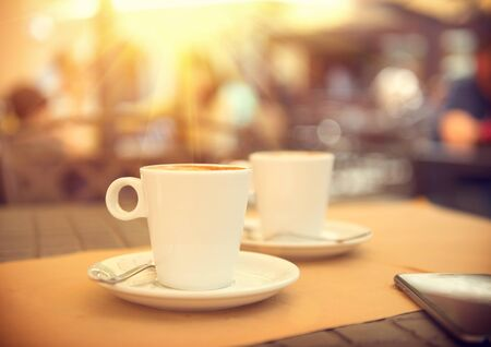 espresso cup: Morning coffee on the terrace in cafe. Cup of espresso Stock Photo