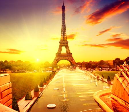 fountain: Eiffel Tower at sunrise, Paris, France