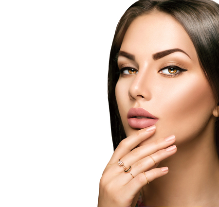 woman nude sexy: Perfect woman lips with beige matte lipstick makeup
