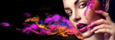 Beauty woman with bright color makeup Banque d'images