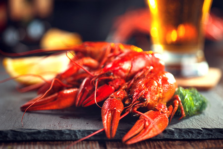 Red boiled crayfish with lemon and herbs on stone slate. Crawfish closeup Reklamní fotografie
