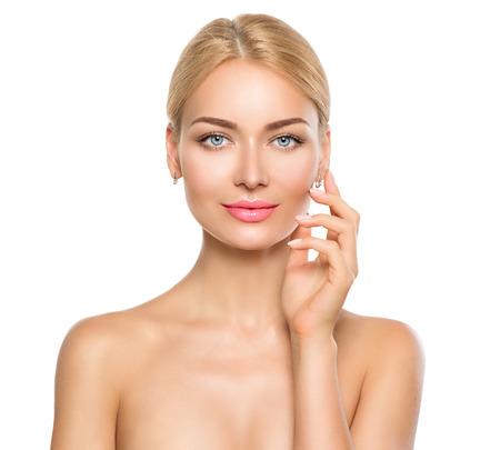 eye makeup: Retrato de mujer de belleza. chica hermoso balneario que toca su cara Foto de archivo