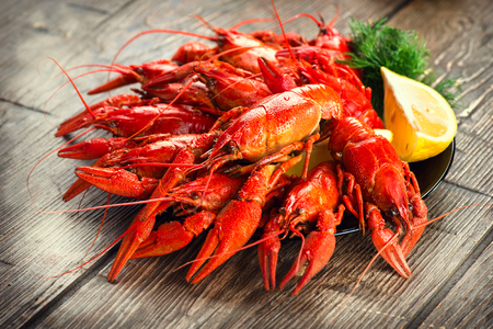 Crayfish. Red boiled crawfish on a wooden table in rustic style