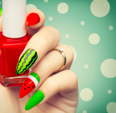 Watermelon style bright summer art manicure for long nails