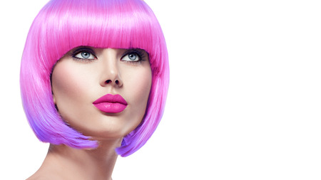 coloring lips: Beauty fashion model with short pink hair