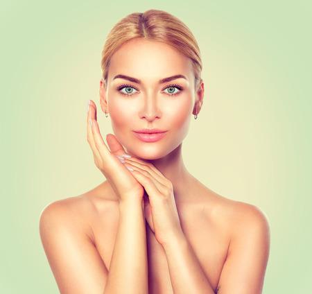 blue face: Beauty spa woman portrait. Perfect fresh skin Stock Photo