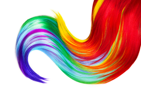 Multicolored hair lock isolated over white background Stock Photo