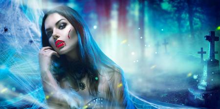 Halloween vampire vrouw portret Stockfoto - 63175195