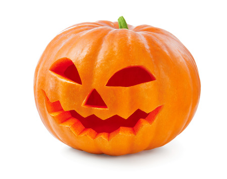 pumpkin head: Halloween pumpkin head jack lantern isolated on white