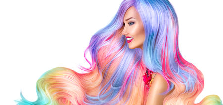 Beauty fashion model girl with colorful dyed hair Фото со стока - 63175205