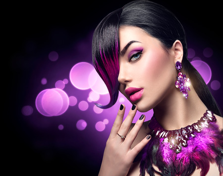 Sexy beauty fashion woman with purple dyed fringe hairstyle Stock Photo