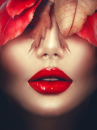 Autumn woman fashion portrait. Fall. Fashion art makeup