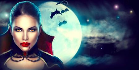 Fantasia Halloween retrato da mulher. vampiro sexy da beleza