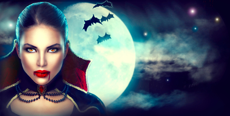 Fantasy Halloween woman portrait. Beauty sexy vampire
