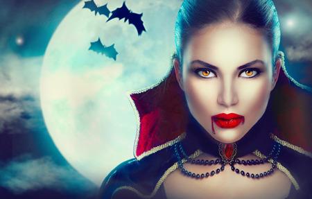 판타지 할로윈 여자 초상화입니다. 아름다움 섹시한 뱀파이어 스톡 콘텐츠