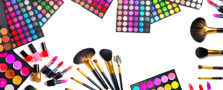 cosmetics background: Makeup. Make-up set palette with colorful eyeshadows Stock Photo