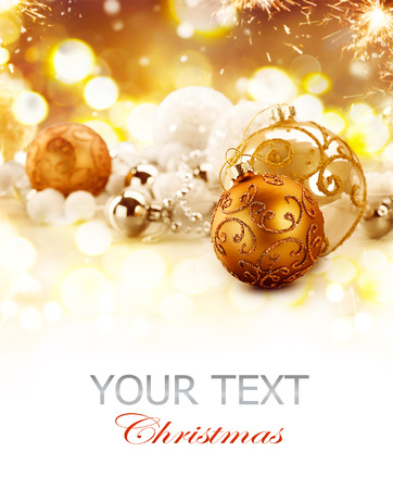 Golden Christmas holiday abstract glitter defocused background