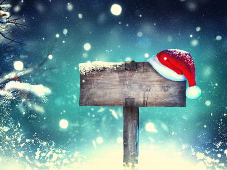 Christmas holiday wooden signboard