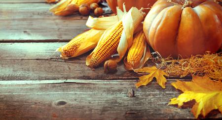 Thanksgiving Day. Autumn Thanksgiving pumpkins over wooden background