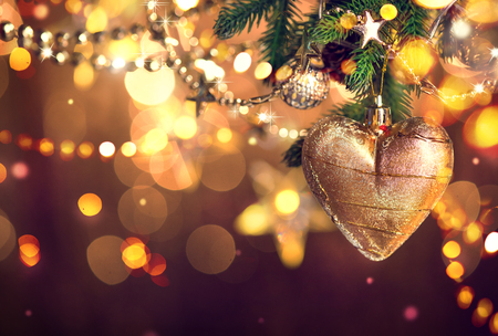 christmas gift: Christmas and New Year decoration. Abstract blurred bokeh holiday background