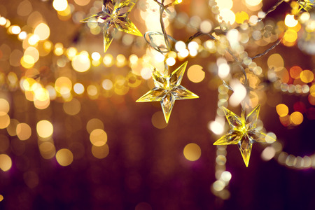 Christmas and New Year background with holiday decoration garland