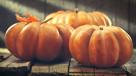 Autumn pumpkins over wooden background. Thanksgiving Day