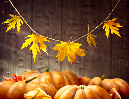 table: Thanksgiving Day. Autumn Thanksgiving pumpkins over wooden background