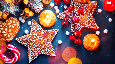 Christmas holiday background. Christmas served table with decorations