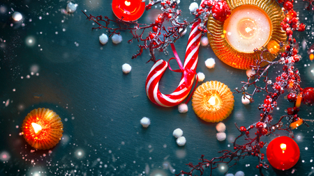 an icing: Christmas holiday background. Christmas served table with decorations