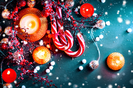 christmas decorations: Christmas holiday background. Christmas served table with decorations