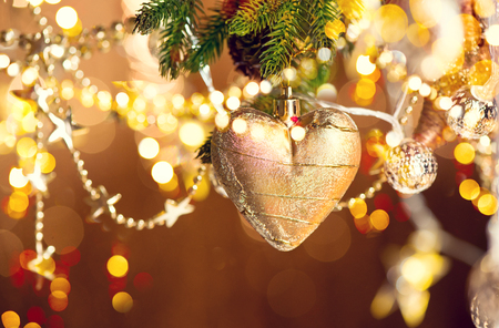 xmass: Christmas and New Year decoration. Abstract blurred bokeh holiday background