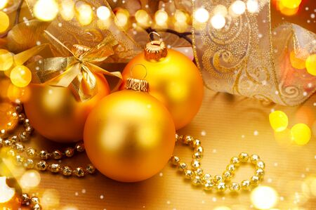 tinsel: Christmas and New Year golden baubles and decorations. Winter holiday art design