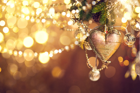 Christmas and New Year decoration. Abstract blurred bokeh holiday background