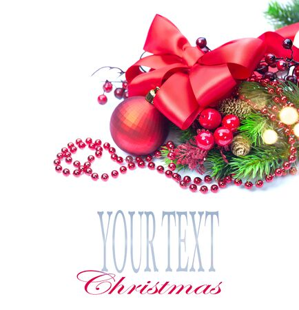 Red Christmas and New Year decoration isolated on white background. Border art design Stock Photo