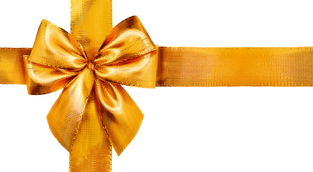 Gold satin gift bow. Ribbon isolated on white background