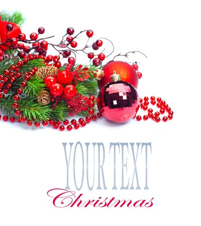tinsel: Christmas and New Year red color decoration isolated on white background. Border art design