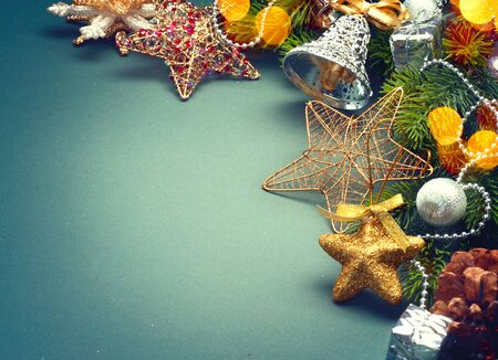Christmas green background with retro styled baubles