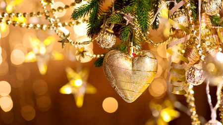 Kerst en Nieuwjaar decoratie. Abstracte vage bokeh vakantie achtergrond