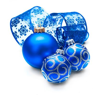 christmas gift: Christmas and New Year Blue blue decoration isolated on white Stock Photo