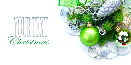 composition: Christmas and New Year decoration isolated on white background. Border art design