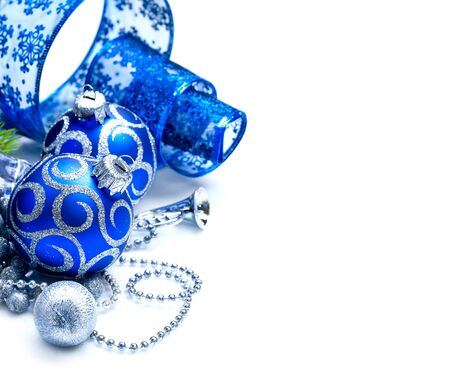 christmas gift: Christmas and New Year Blue blue decoration isolated on white. Border art design with holiday baubles