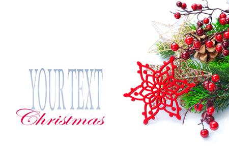 xmas background: Christmas and New Year decoration isolated on white background